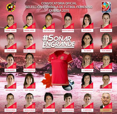 Spanish female soccer squad 2015 Canada World cup