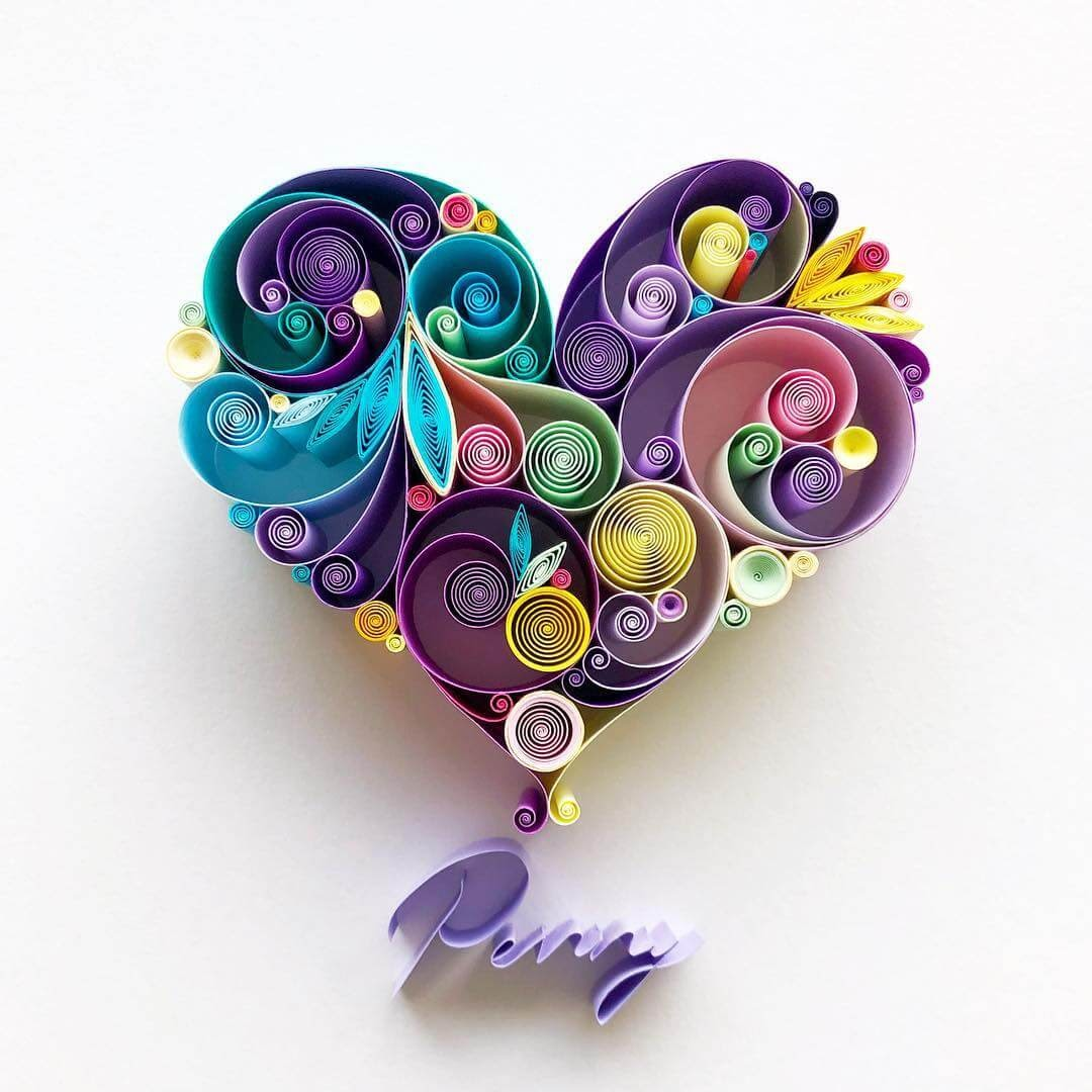 09-Purple-Heart-Sena-Runa-Quilling-Art-Animals-and-Objects-www-designstack-co