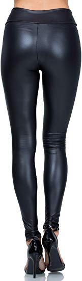 Women's Stretchy Faux Leather Full Length Leggings Pants
