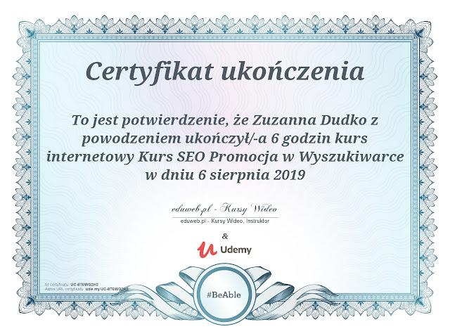 zuzkapisze certyfikat seo