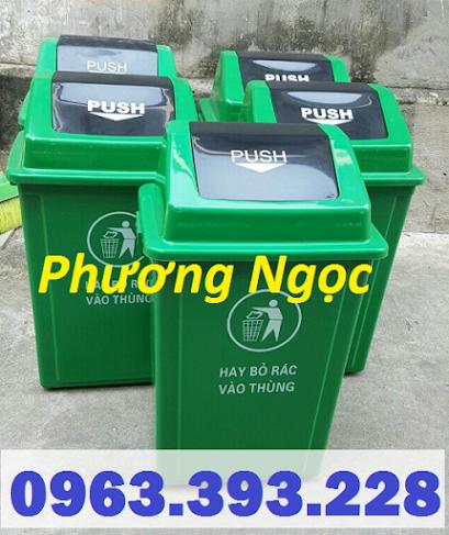 Thùng rác nhựa nắp bập bênh, thùng rác 60 Lít nắp lật, thùng rác công cộng NBB60L2
