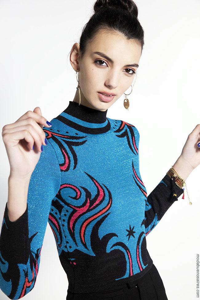 Moda invierno 2018 tejidos ropa de mujer.