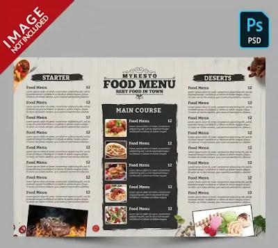 تحميل تصميم منيو مطعم PSD قابل للتعديل