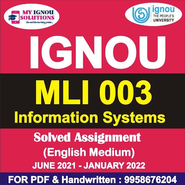 MLI 003 Solved Assignment 2021-22