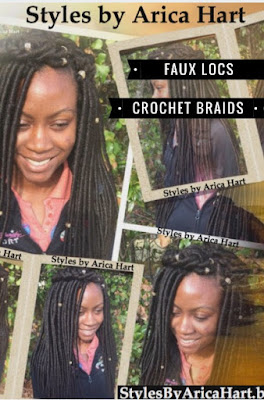 A protective hair Styles, faux locs, crochet braid