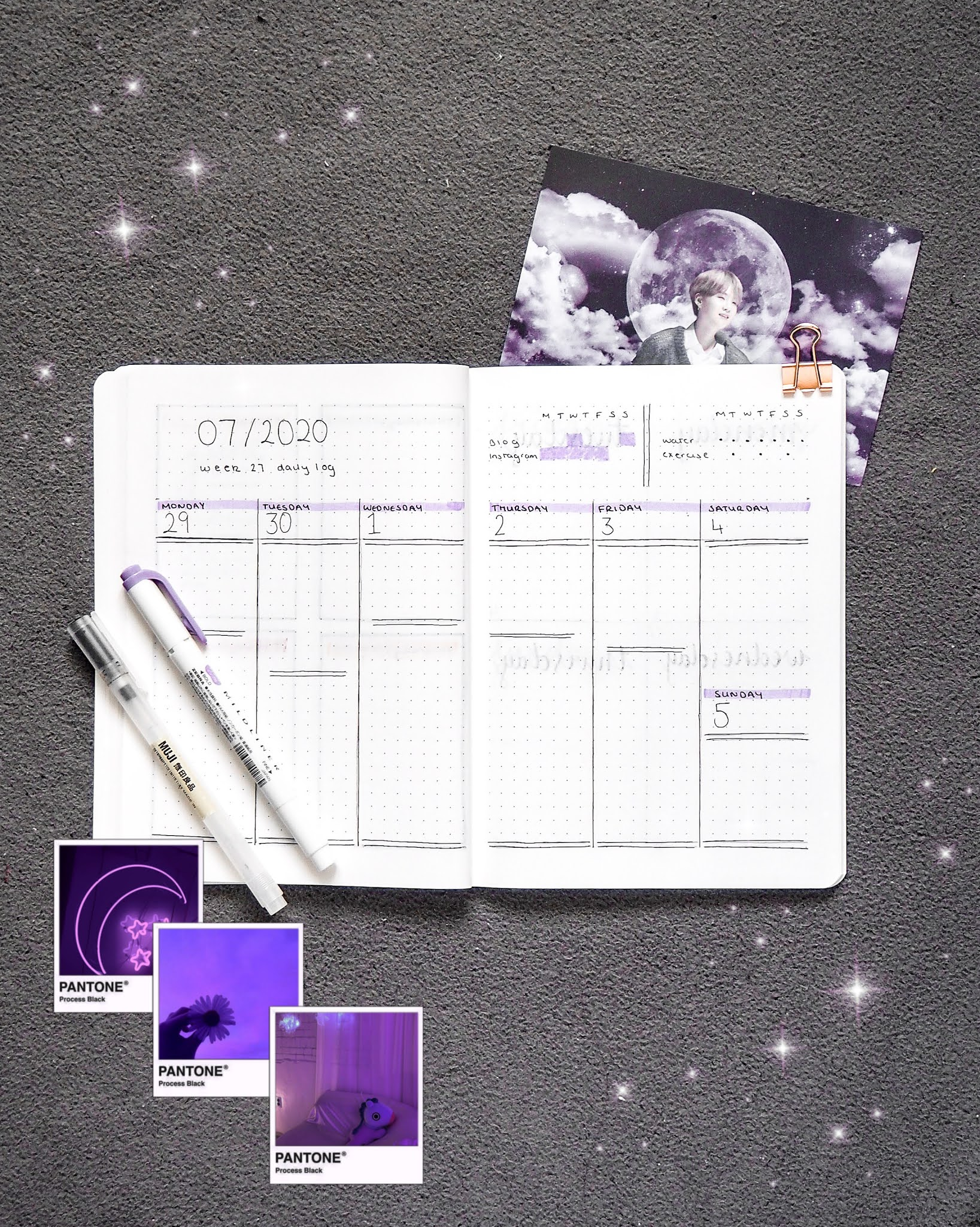 a purple themed bullet journal weekly spread. double spread spilt into 6 columns with the last one containing both saturday and sunday