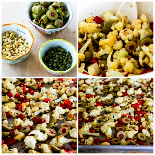 Roasted Cauliflower with Red Bell Pepper, Green Olives, and Pine Nuts
