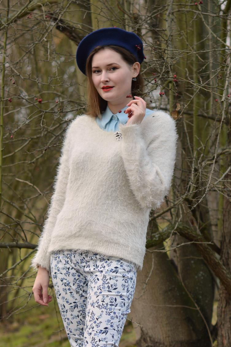 georgiana quaint, winter outfit, bloggerka cz, blue white outfit, crocheting
