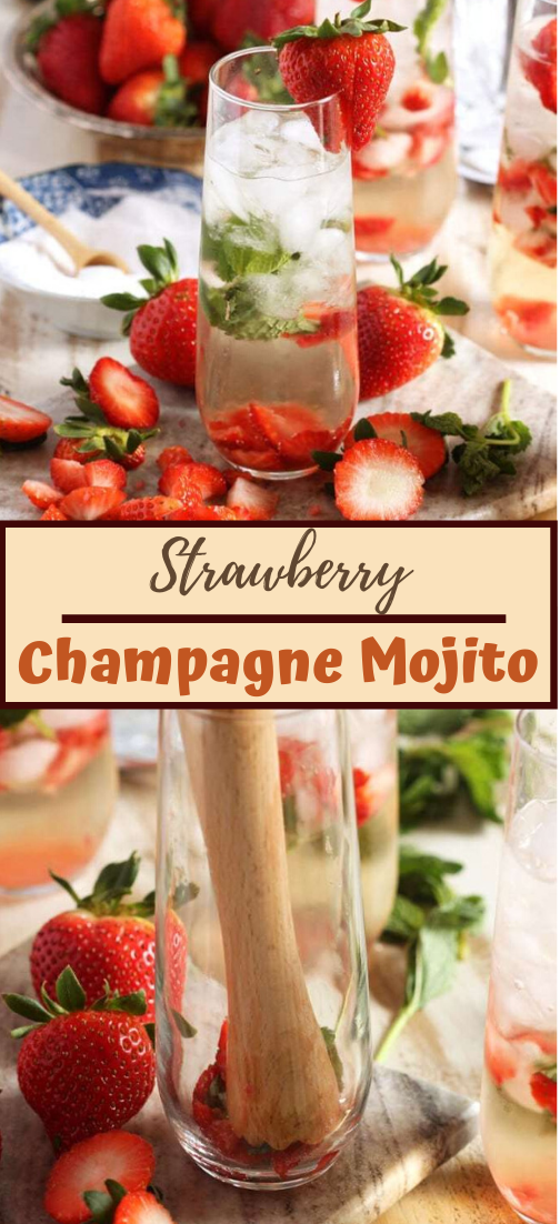 Strawberry Champagne Mojito  #healthydrink #drinkrecipe #smoothiehealthy #cocktail