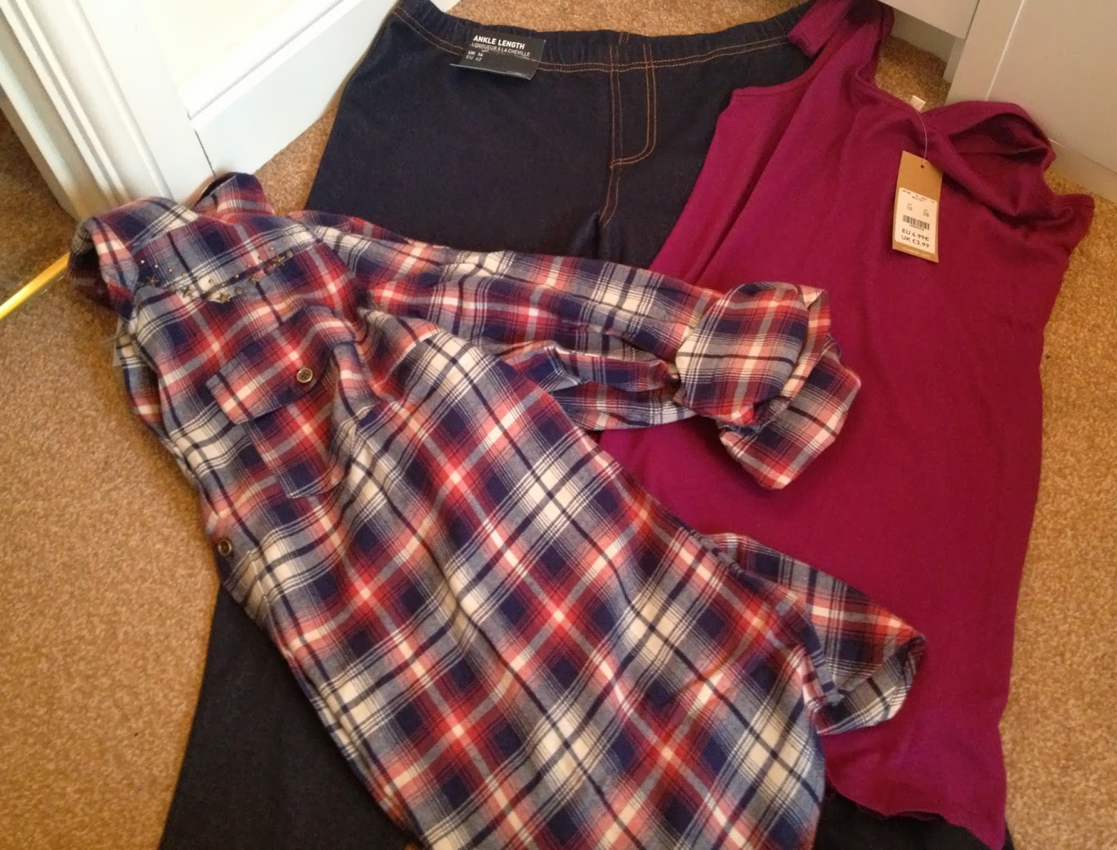 clothes from newlook, jeggings, and t-shirt top, and checked shirt