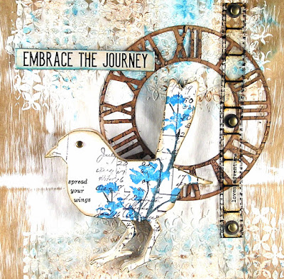 Sizzix TimeKeeper Sizzix Bird Silhouette Stampers Anonymous Etcetera Tim Holtz Layering Stencil Nordic Ideaology Quote Chip For the Funkie Junkie Boutique
