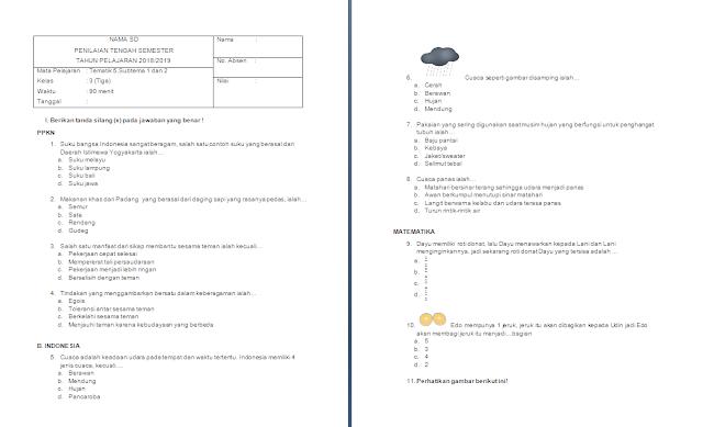 Soal PTS/UTS Kelas 3 SD/MI: Tema 5 Subtema 1-2