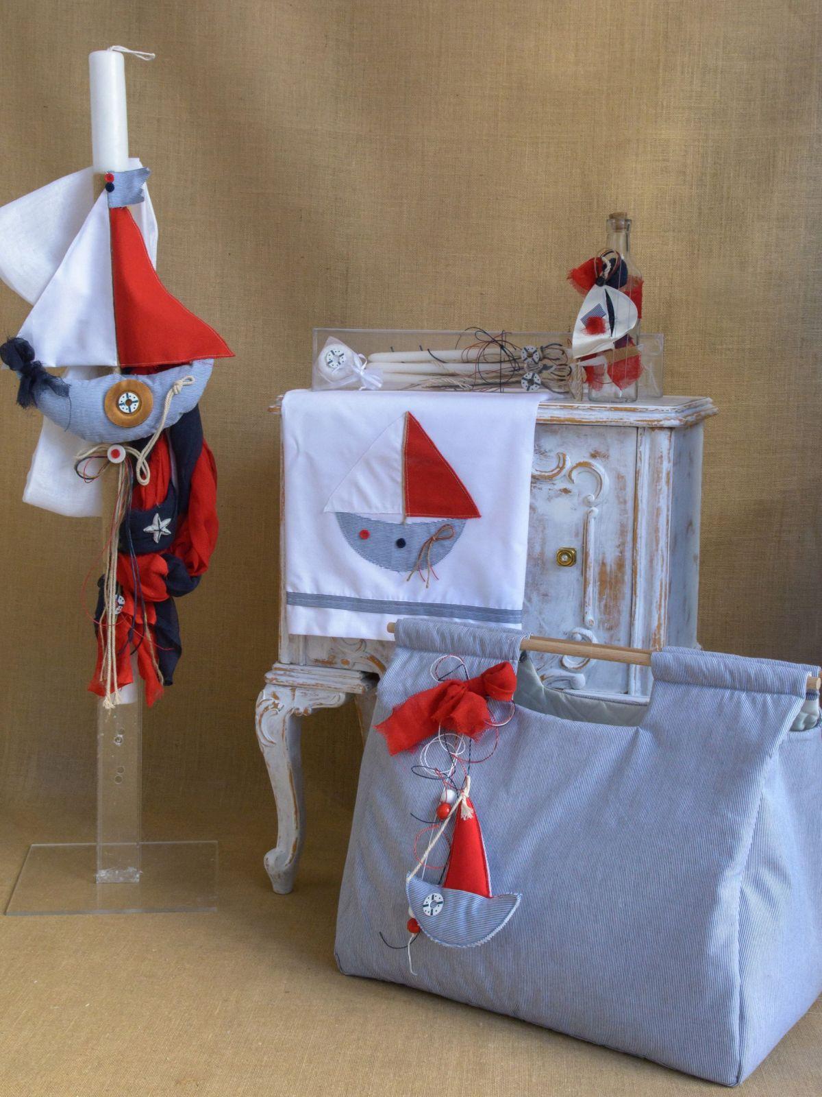 Sail boat themed Baptism lampada set for boy CSB41