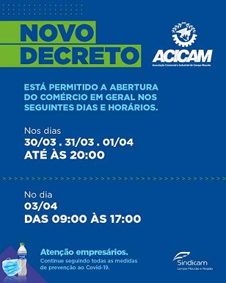 Lojas abertas até às 20 horas, em Campo Mourão, até quinta-feira