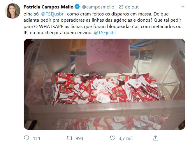 Print de tuíte de Patricia Campos Mello
