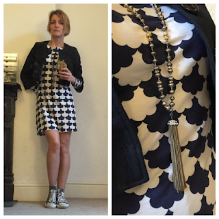 Boden dress, Warehouse jacket, Stella & Dot necklace