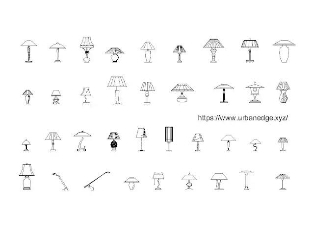 Table lamps elevation cad blocks download - 35+ Dwg Models