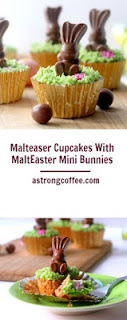 easy to make easter cupcakes using Malteaser bunnies. They have green grass malt flavoured icing