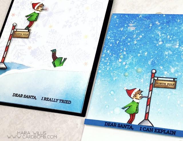 #cardbomb, #mariawillis, #heroarts, Hero Arts, Naughty Elves, #christmas, #cards, #cardmaker, #cardmaking, #handmade, #handmadecards, #art, #craft, create, #diy, ink blending, #shaker card, #video, #videotutorial,