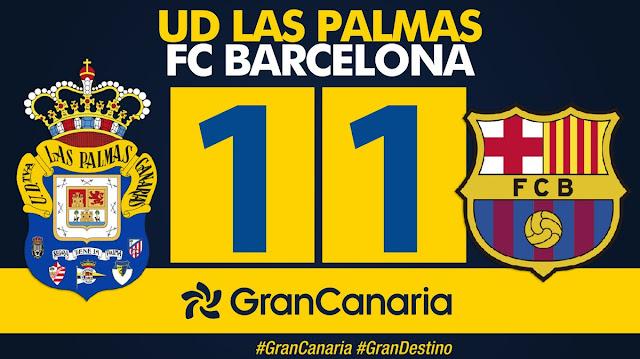 Marcador final UD Las Palmas 1-1 FC Barcelona