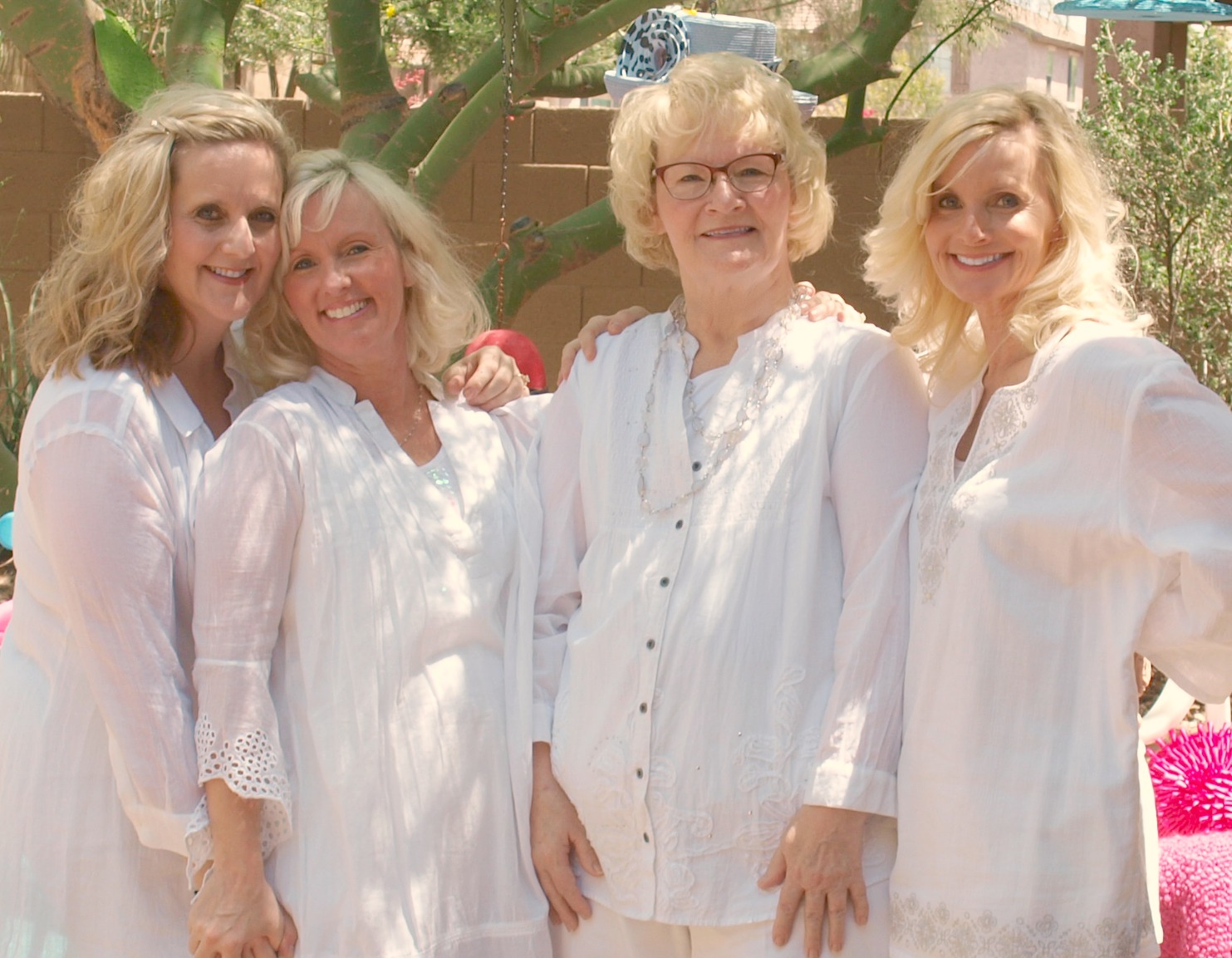 Breast cancer previvors and breast cancer survivor. BRCA sisterhood. Blondes in white in Arizona