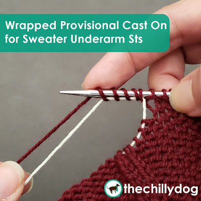 Knitting Tutorial: Using a simple wrapped provisional cast on for sweater underarm stitches means no picked up sleeve stitches later.
