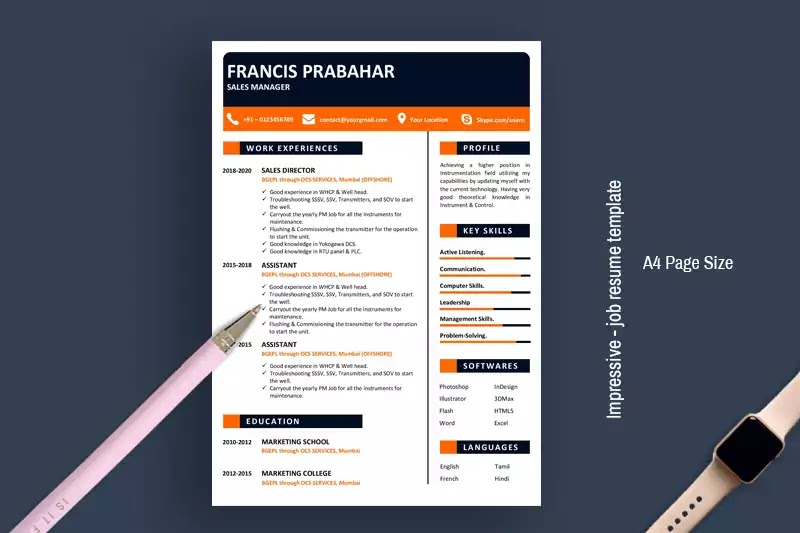 Impressive Job Resume Template For Word Free Download 2020 My