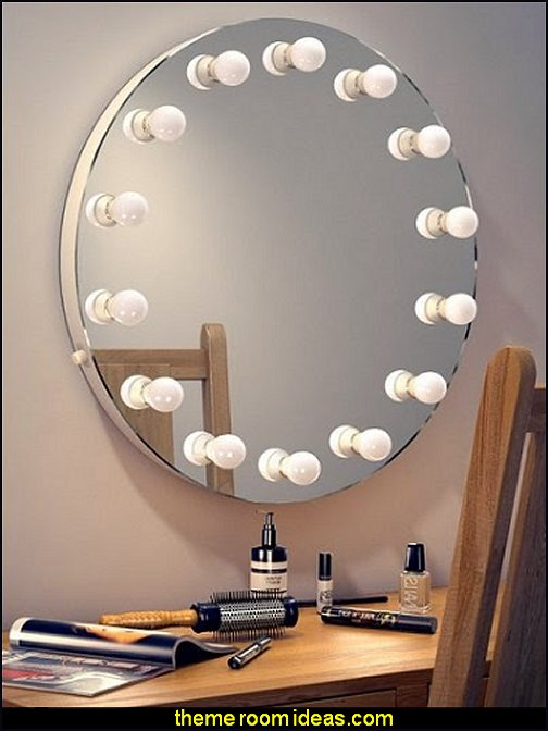 Round Hollywood Makeup Mirror  - Lighted Make-up Vanity mirrored furniture