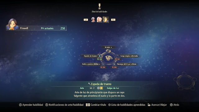 Rinwel Arbol de habilidades Espada de trueno Tales of Arise