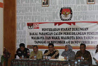 Dua Paslon Independen Mendaftar, KPUD Kota Bima Kembalikan Berkas SW