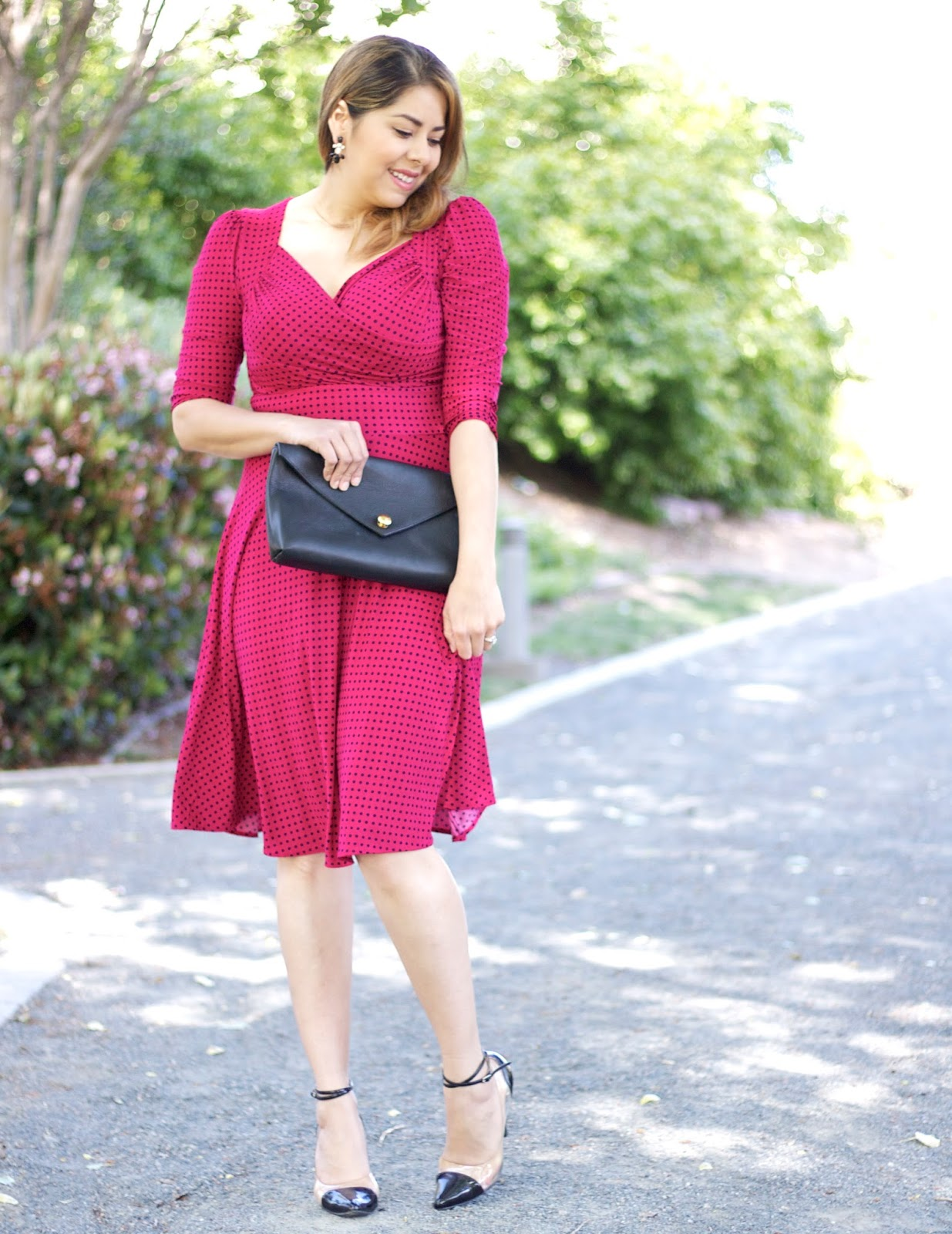 Berry and Dot Dress, San Diego Fashion Blogger, what to wear to a wedding, what to wear to a cocktail party