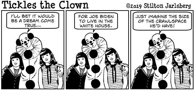 stilton's place, stilton, political, humor, conservative, cartoons, jokes, hope n' change, joe biden, groping, child, molester, tickles the clown, crawlspace
