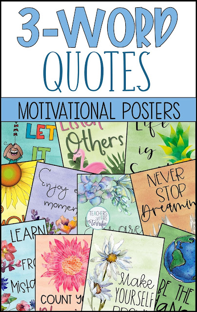 This amazing poster set with gorgeous colors will decorate your classroom all year. Each poster features an encouraging and positive quote that will help motivate and affirm the students you teach.
