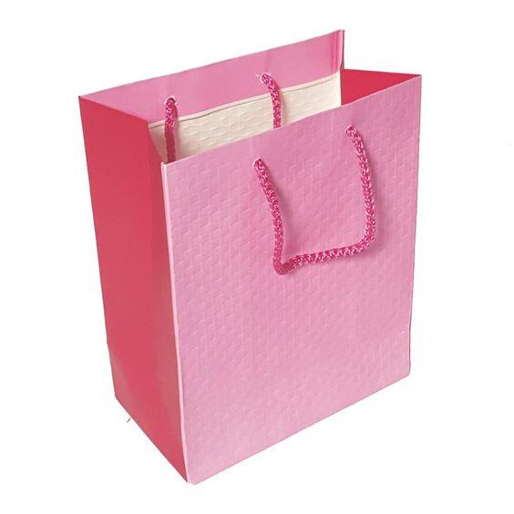 Pink paper shopping bag.