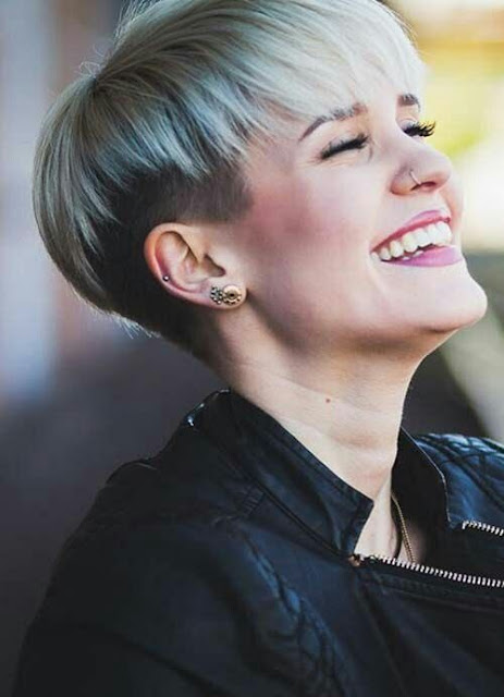 Silver shade undercut hairstyle