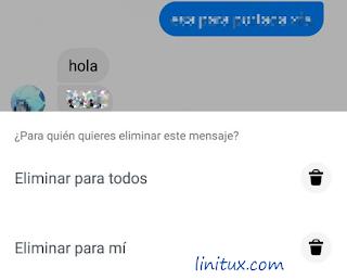 borrar mensaje messenger