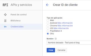 Crear ID y tipo de aplicación para el API de Gmail