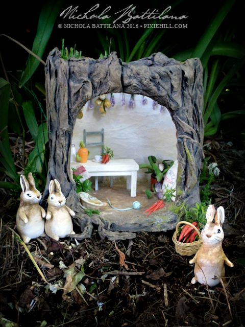 Beatrix Potter Tribute - Stump house and bunnies - Nichola Battilana
