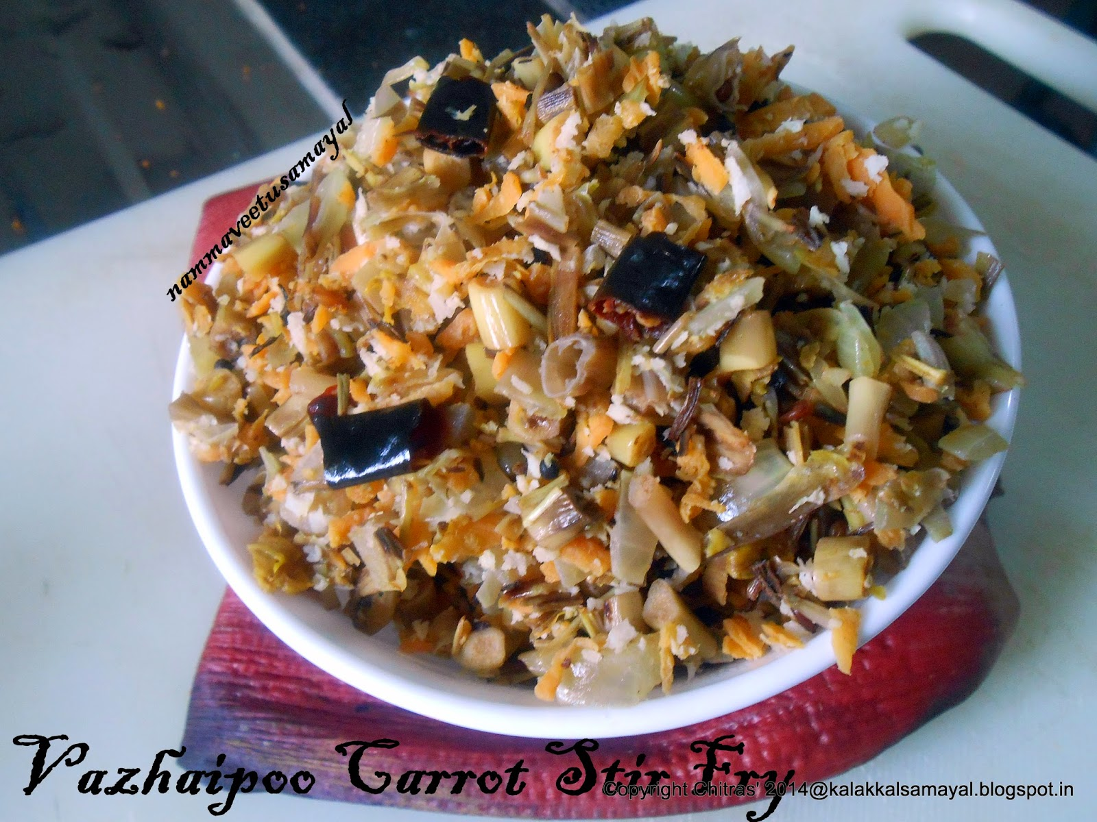 Vazhaipoo Carrot Poriyal [ Banana flower carrot stir fry ]