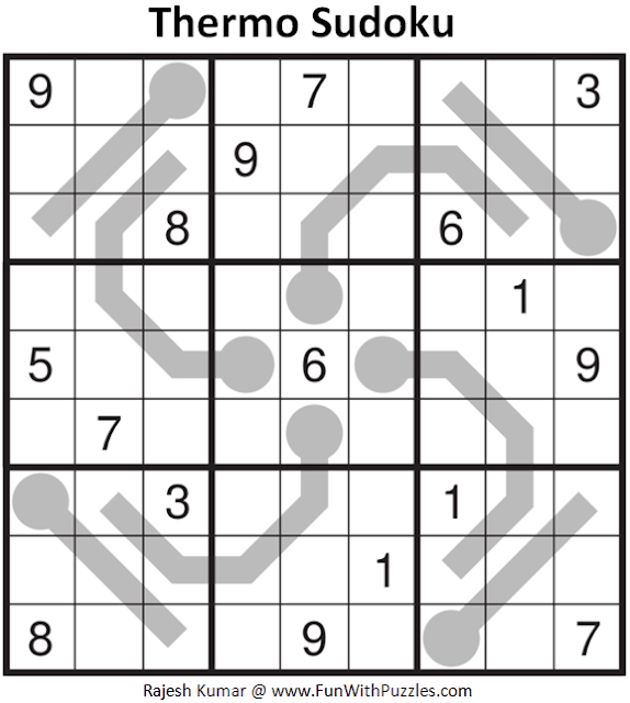 Thermo Sudoku Puzzle (Daily Sudoku League #213)