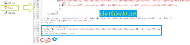 Code Tự động ẩn link comment xóa spam comment blogspot