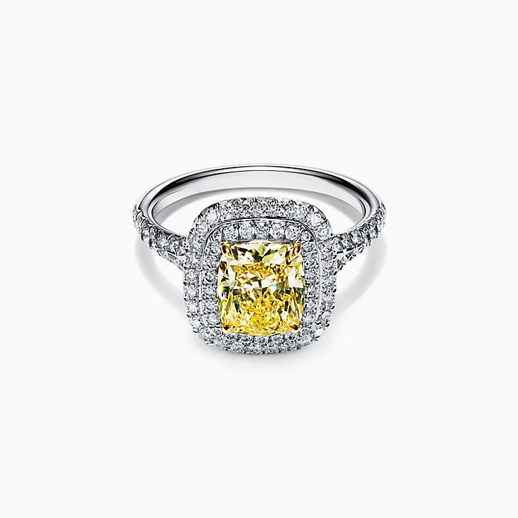 Tiffany Soleste® Cushion-cut Yellow Diamond Halo Engagement Ring in Platinum