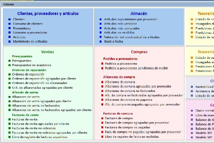 software de facturacion:Imagen de la ventana de informes