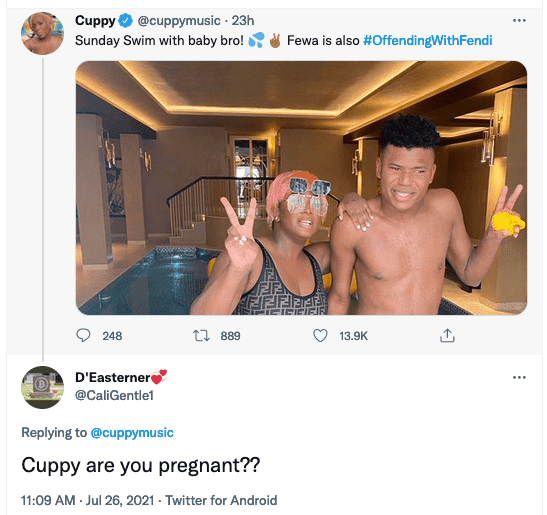 Are you Pregnant- Curious Fans asks DJ Cuppy over her recent Photo with her brother, Fewa