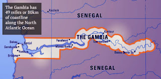 The Gambia is almost totally surrounded by Senegal except for 49 miles or 80 km of coastline.