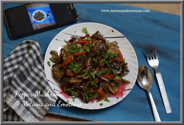 Mushroom and red bellpepper stir fry