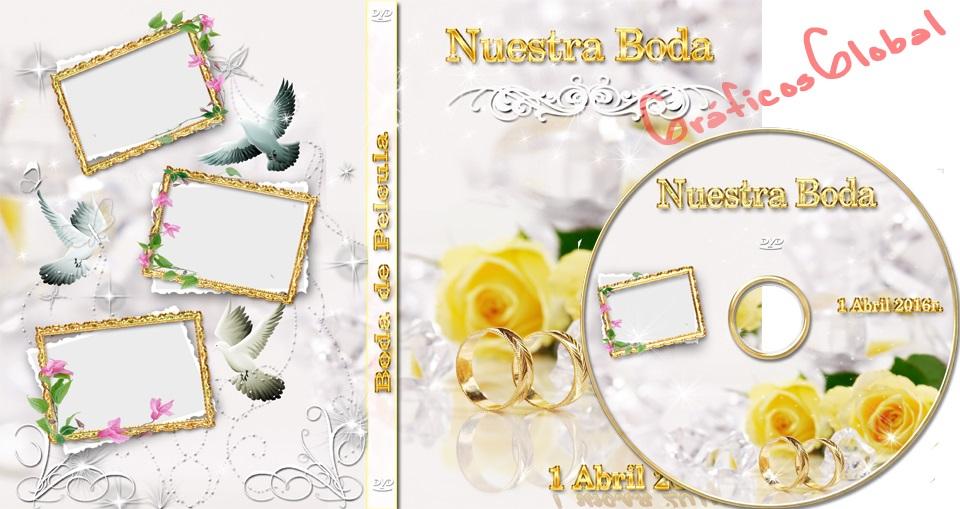 Plantillas Floral con Anillo psd fondo plateado DVD