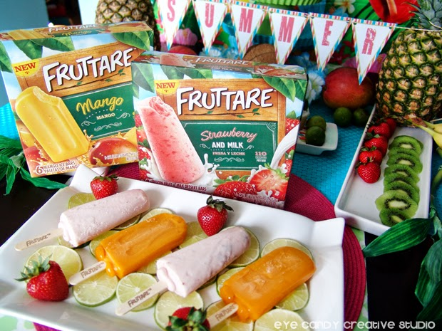 free summer banner, luau tips, Fruttare bars, mango, strawberry, fruit