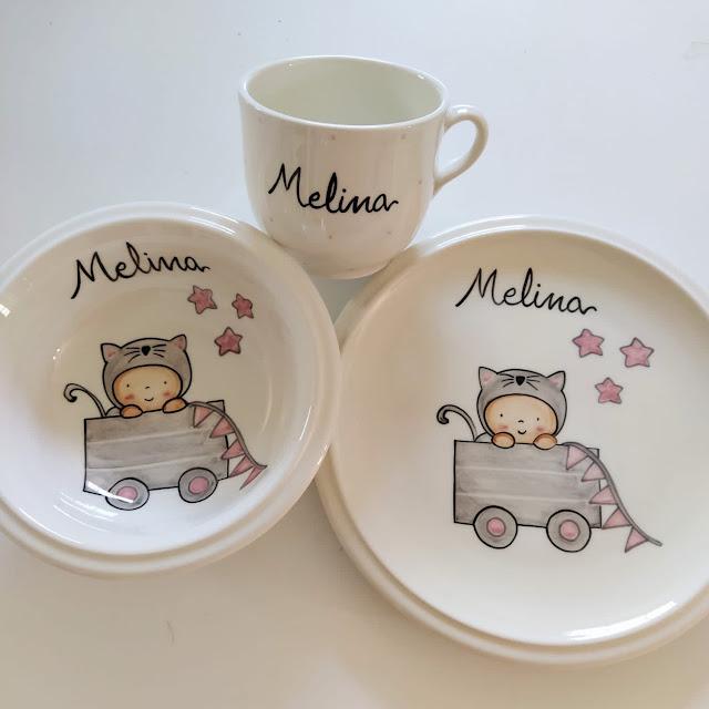 vajilla cerámica artesanal pintada a mano-gatito juguetero