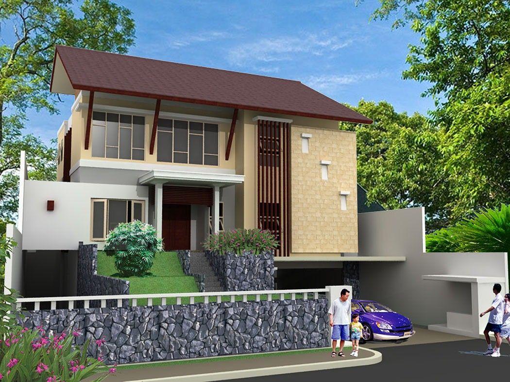 model rumah tropis modern 2 lantai yang indah